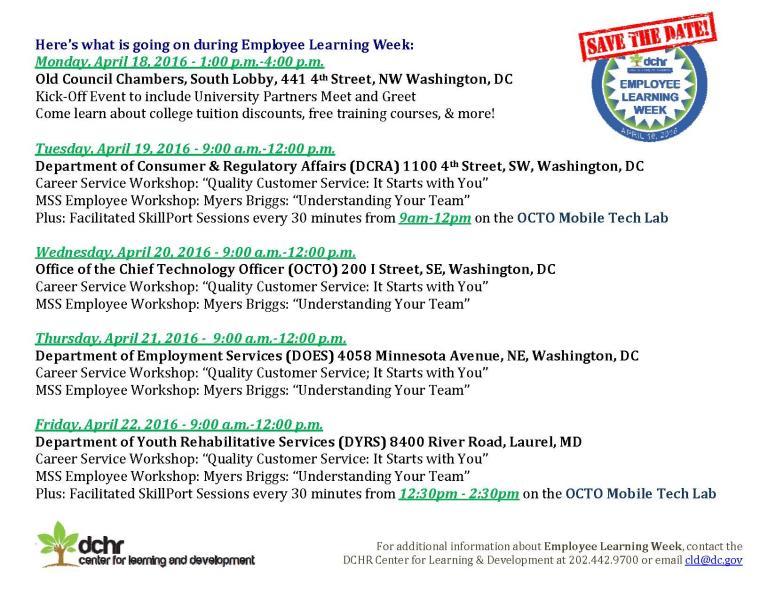 employee learning week flyer dchr